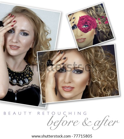 before and after of a woman's face retouching - close-up of professional high-end image retouch with hair manipulation and manicure color change - stock photo
