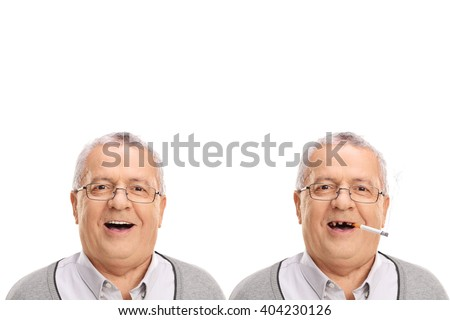 Before and after photo of an elderly man showing the harmful effetcs of smoking isolated on white background - stock photo