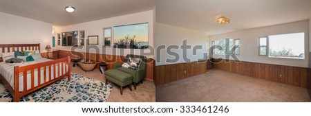 Before and After photo of remodeled and staged bedroom.  - stock photo
