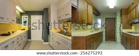 Before and After photo of remodeled wooden kitchen with fitting enthralling cabinets, tiled counter tops, stainless steel appliances and view window. - stock photo