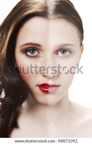Before and after photograph of womans face with halve made up and halve clean - stock photo