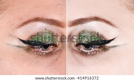 Before and  after retouch,closeup horizontal photo shoot of eyes makeup on a young woman's face, power of retouch, cosmetology,