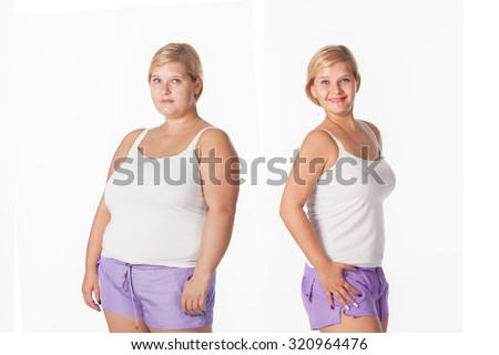 before and after weight loss. rejuvenation. Fat woman  comparison thin woman - stock photo