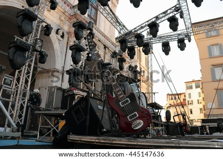 "Before concert  Enrico Ruggeri. ""Notte Bianca"" urban free event  in Bresca Italy, May 21, 2016"