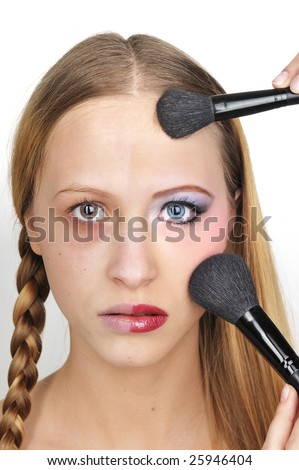 Before Makeup and after makeup - stock photo
