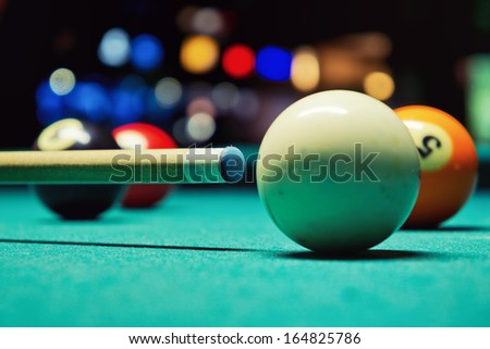 Before shoot / Cue ball and the cue - stock photo