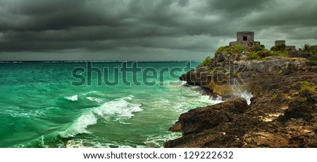 Before the storm on the Caribbean coast in the ancient Mayan city of Tulum, Mexico - stock photo
