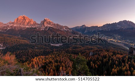 Before the sunset in Dolomites mountains over Cortina and under Tofana in autumn.