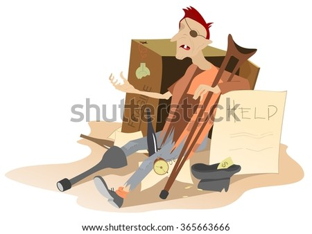 Beggar. Hungry and chilled man sits near cardboard box and asks for help and money  - stock photo