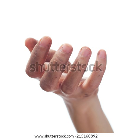 Beggar people and human poverty concept - hands begging for food or help  - stock photo