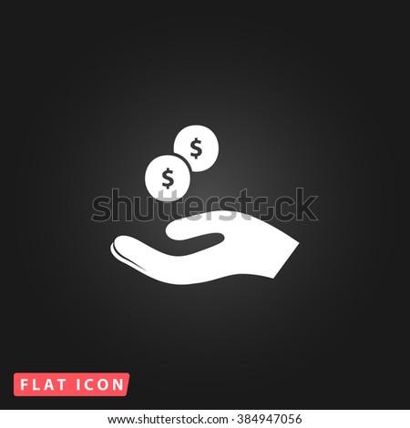 beggar White flat icon on dark background. Simple illustration pictogram - stock photo