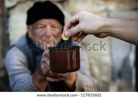 Begging for money - stock photo