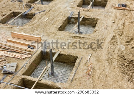 Beginning phase for construction of a tall building - stock photo