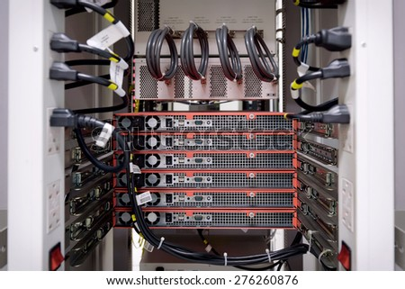 Behind network swtich - stock photo