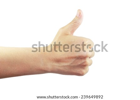 behind of palm with like sign show  isolated white background - stock photo