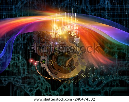 Behind Reality series. Abstract design made of gears, fractal forms, lights and numbers on the subject of reality, philosophy, metaphysics and modern technology - stock photo