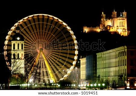 Behind the big wheel, Basilica of Fourvière - stock photo