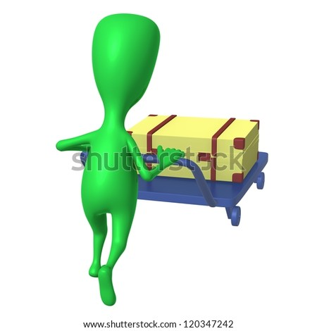 Behind view green puppet push trolley with case - stock photo