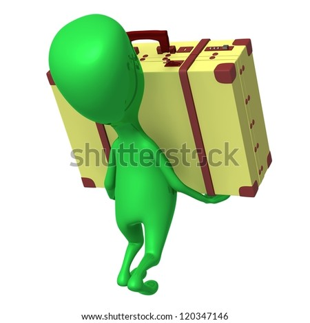 Behind view puppet carry suitcase on his arms - stock photo