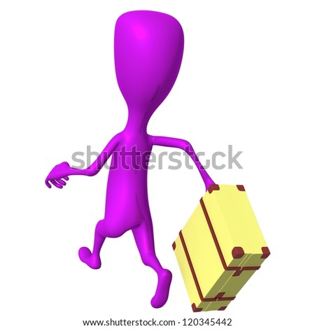 Behind view puppet hurry on bus with case - stock photo