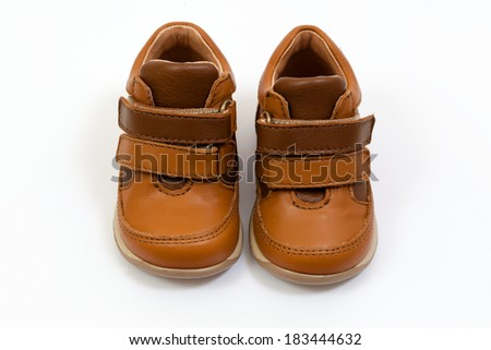 Beige and brown leather shoes with stitches for children