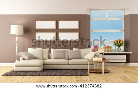 Beige and brown modern living room - 3d rendering - stock photo
