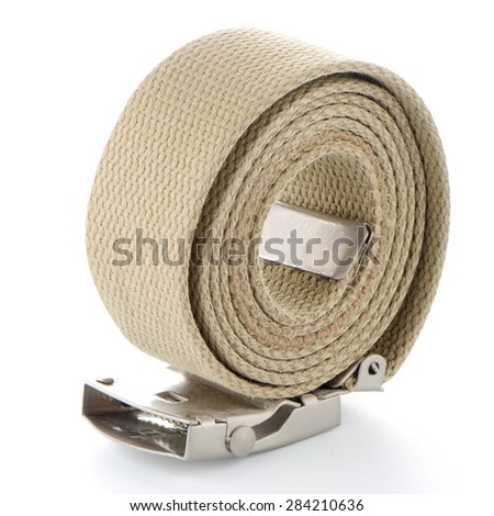 Beige belt on white background. - stock photo