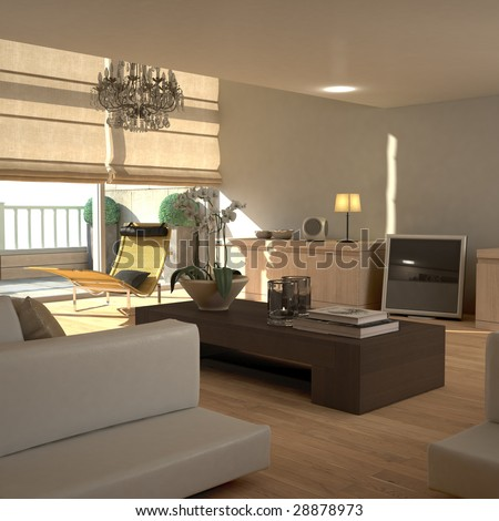 Beige contemporary modern interior with LCD television (3D render) - stock photo
