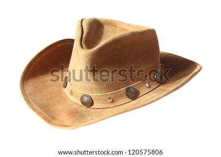 beige cowboy hat, decorated of five cents coins isolated on a white background - stock photo