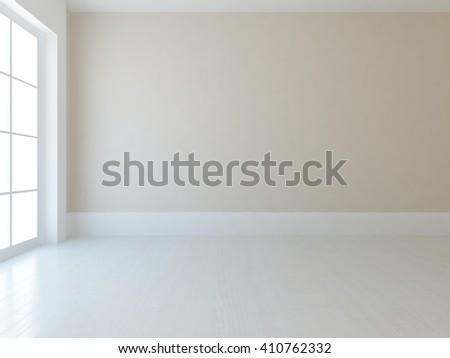 Beige empty room. Scandinavian interior.3d illustration - stock photo