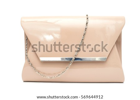 Beige fashion patent leather purse clutch on white background isolated
