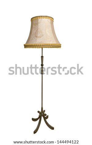 Beige floor lamp isolated over white background - stock photo