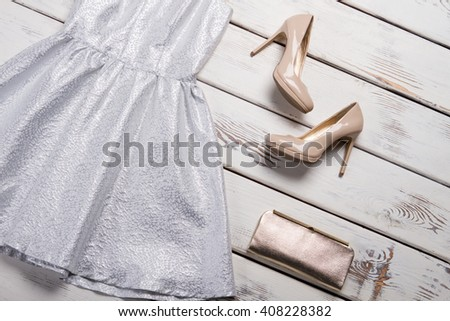 Beige footwear and silver handbag. Luxury heel shoes on shelf. Girl's brand new evening shoes. New arrivals in fashion store. - stock photo