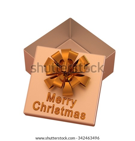 Beige gift box with gold bow and inscription: Merry Christmas. Isolated on a white - stock photo