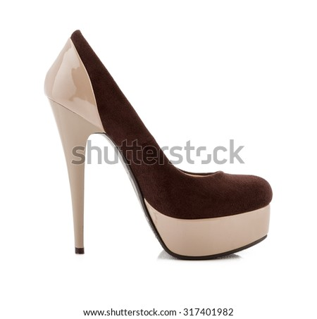 Beige high heel shoes isolated on white.