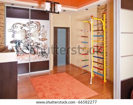 Beige interior of modern living room for children - stock photo