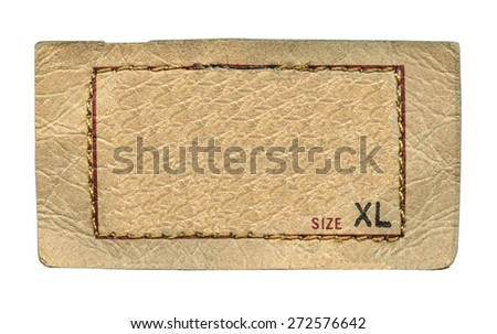 beige leather label on white background, size - stock photo