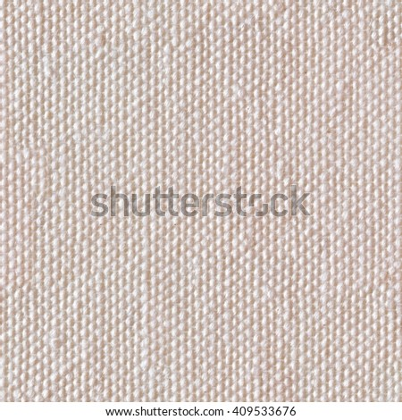 Beige linen canvas. Seamless square texture. Tile ready. - stock photo