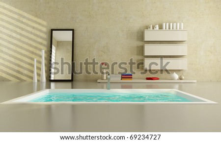 beige minimalist bathroom with fashion bathtub - stock photo