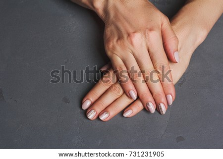 Beige Nail Art Gold Lines On Stock Photo Royalty Free 731231905