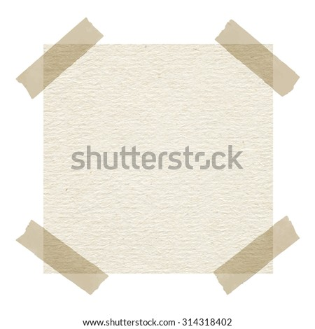Beige note paper with adhesive tape on white background - stock photo