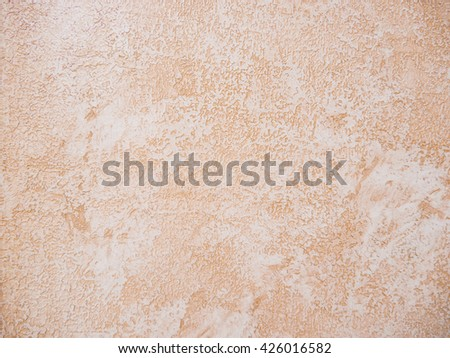 Beige Plastered Concrete Wall Background Texture Detail - stock photo