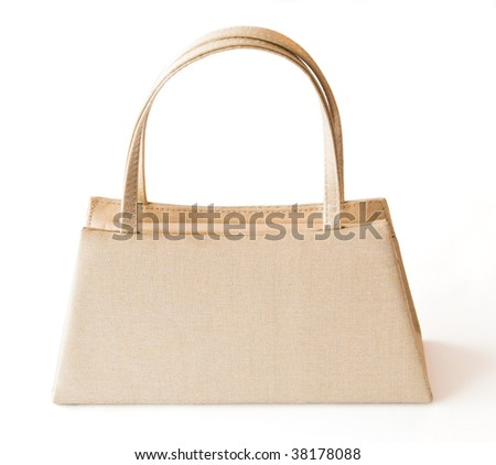 beige purse isolated with clipping path
