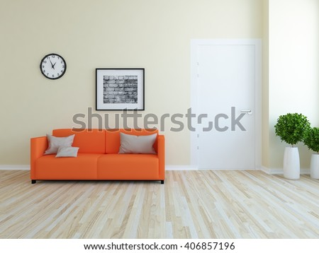 Beige room with sofa. 3d illustration - stock photo
