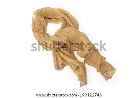 Beige scarf chiffon isolated on white background - stock photo