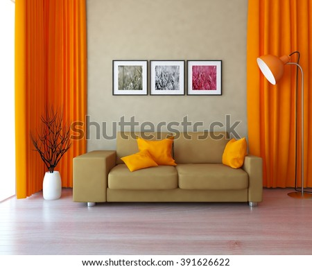 beige wall with orange curtains and sofa. 3d illustration - stock photo
