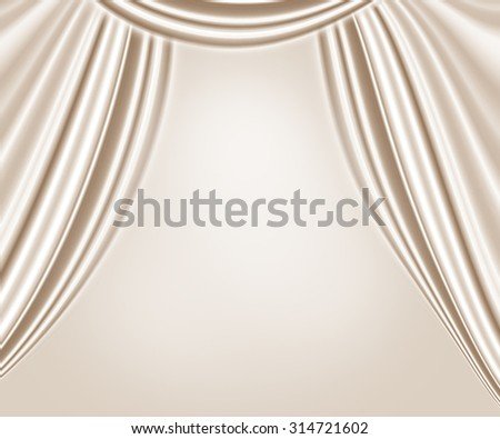 beige wavy satin curtains abstract background theater, interior background