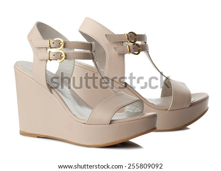 Beige women shoes isolated on white background. - stock photo