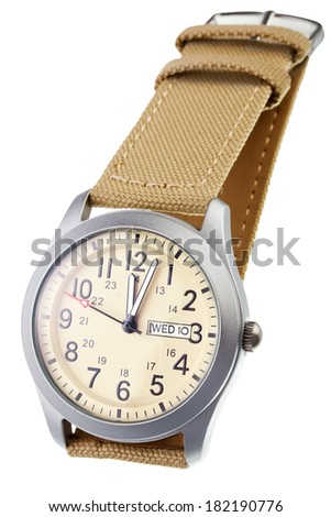 Beige wristwatch closeup isolated on white background - stock photo