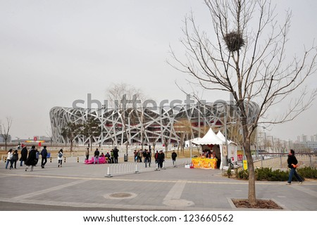 BEIJING - APRIL 04 2009:Bird nest on a tree against the Bird's Nest Stadium in Beijing, China.The design, which originated from the Chinese ceramics giving the stadium the appearance of a bird's nest. - stock photo